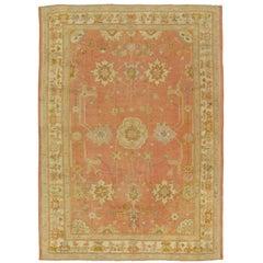 Antique Oushak Carpet, Handmade Oriental Rug,Pink Rug, Taupe, Cream Fine