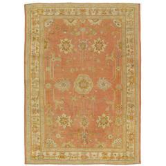 Antiker Oushak Teppich, Handgemachter Orientalischer Teppich, Pink, Taupe