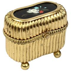 Small Victorian Gilt Metal Dresser or Ring Box with a Pietra Dura Plaque