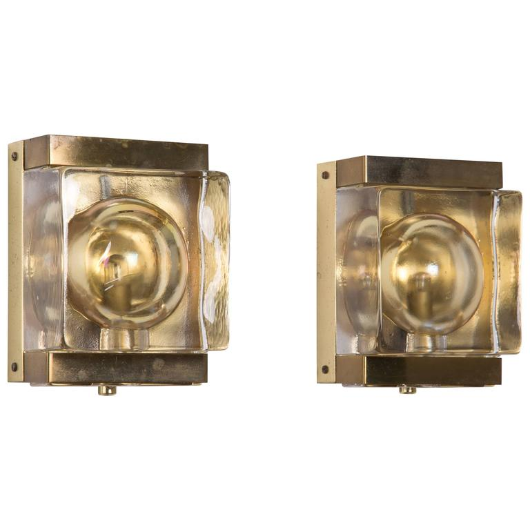 Wall Sconces With Colored Glass : Pair of Danish Ship s Wall Sconces with Cahmpagne Colored Glass in Brass Casing at 1stdibs