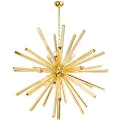 """Murano Amber """"Triedri"""" Glass Sputnik Chandelier by A.Donà"""