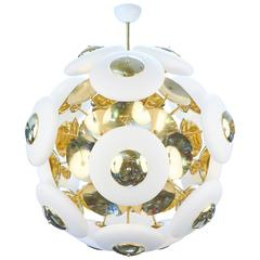 Murano White Glass Orbs and Brass Chandelier