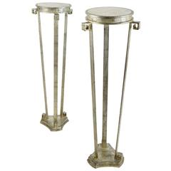 Fantastic Pair of Art Deco Style Silver Leafed Marble-Top Iron Pedestals