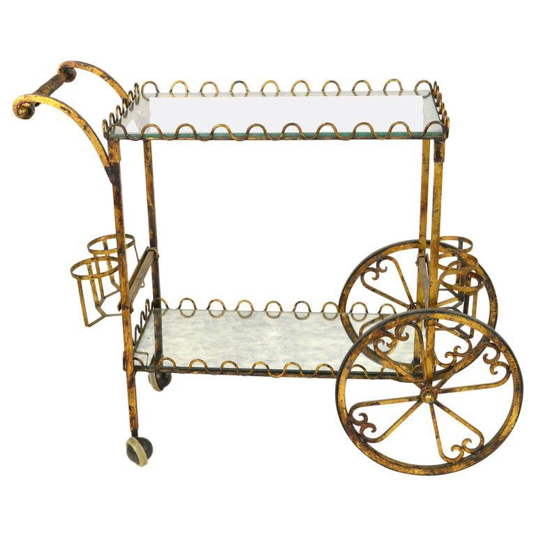 Mid-Century Gilt Iron Bar Cart or Tea Cart
