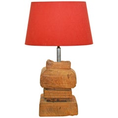 Rustic Antique Chinese Wood Base Lamp