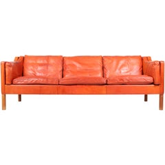 Børge Mogensen Sofa in Patinated Leather