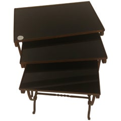 Italian Designed Nest of Three Tables Forged Iron with Black Glass, 1950