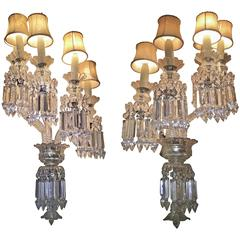Pair of Crystal Sconces attributed to Baccarat, France, 1870s
