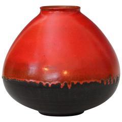 Big Mid-Century Studio Pottery Vase Uranium Orange Drip Glaze, Style of Natzler