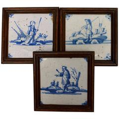 Group of Three 18th Century Blue and White Dutch Delft Tiles