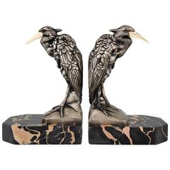 French Art Deco Silvered Bronze Heron Bookends by Manin, 1930