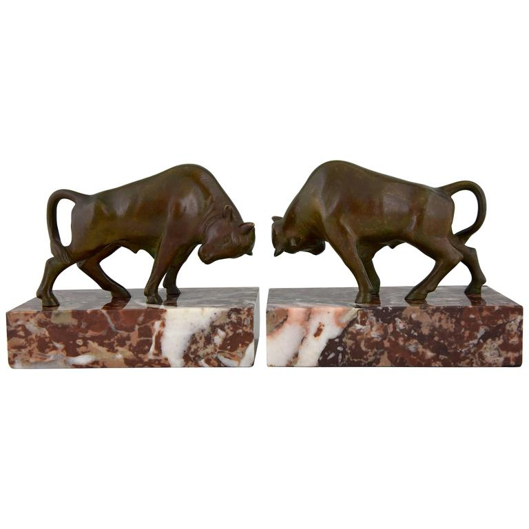 French Art Deco Bronze Bull Bookends by Luc, 1930 1
