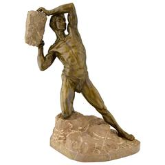 Antique Bronze Sculpture Male Nude with Rock, 1900