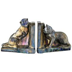 Art Deco Ceramic Cat Bookends A. Cytère for Rambervillers, 1931