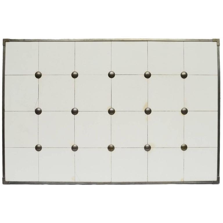 Pewter Framed and Studded White Glazed Ceramic Tile Backsplash