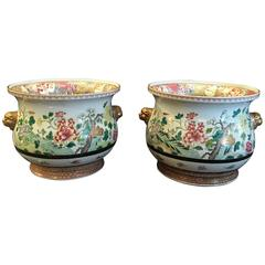 Pair of Chinese Famille Rose Cachepots