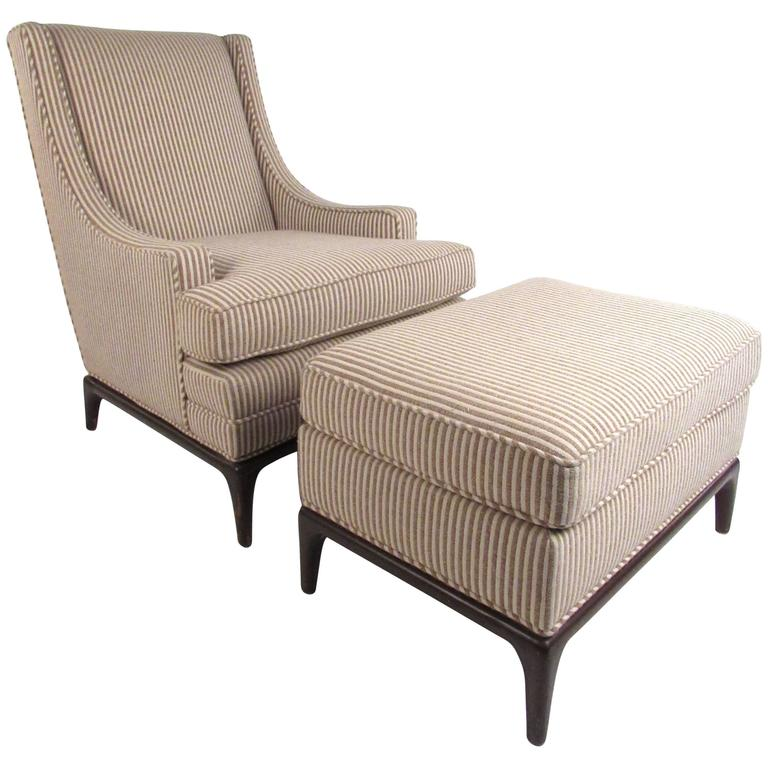 Mid-Century Modern Lounge Chair with Ottoman after Robsjohn-Gibbings For Sale