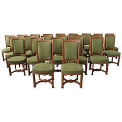 Set of 23 Fine French Art Deco Oak Side Chairs by Arbus (1 armchair available)