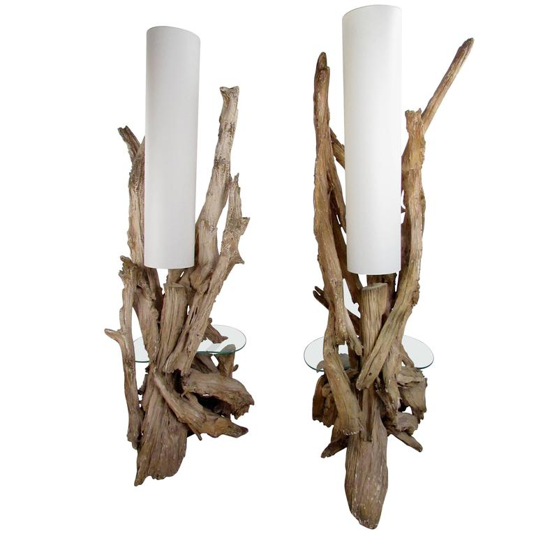 Pair of Vintage Driftwood Floor Lamps with Glass End Tables