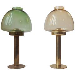 Hans-Agne Jakobsson Colored Glass and Brass Candlesticks Pair, Markaryd, Sweden