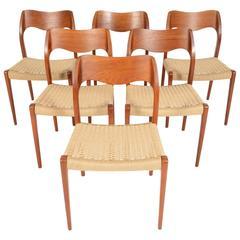 Set of Six Møller Model 71 Teak Dining Chairs