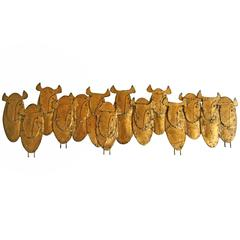 """Rare 1960's Gilded """"Charging Bulls"""" Wall Sculpture by Peter Pepper Products"""