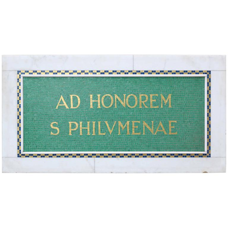 marble and mosaic tile plaque honouring saint philomena. Black Bedroom Furniture Sets. Home Design Ideas
