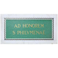 Marble and Mosaic Tile Plaque Honouring Saint Philomena