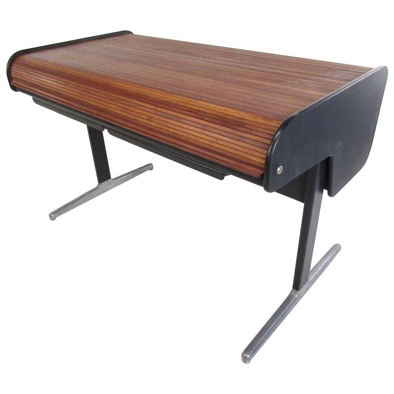 Mid Century Modern Tambour Roll Top Desk By George Nelson