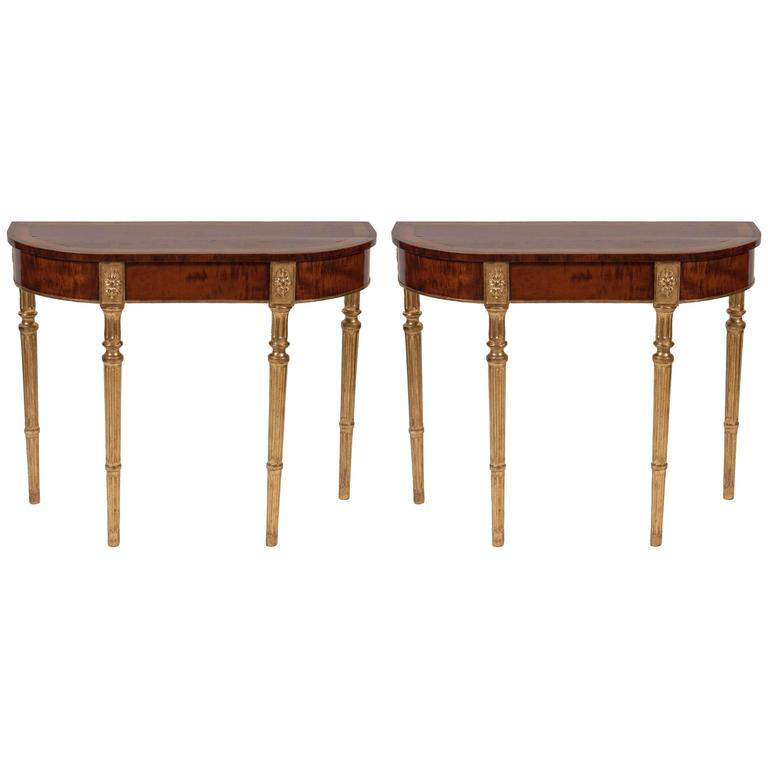 Pair of George III Mahogany and Satinwood Parcel-Gilt Console Tables