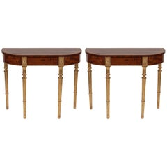 Pair of Matched George III Mahogany and Satinwood Parcel-Gilt Console Tables
