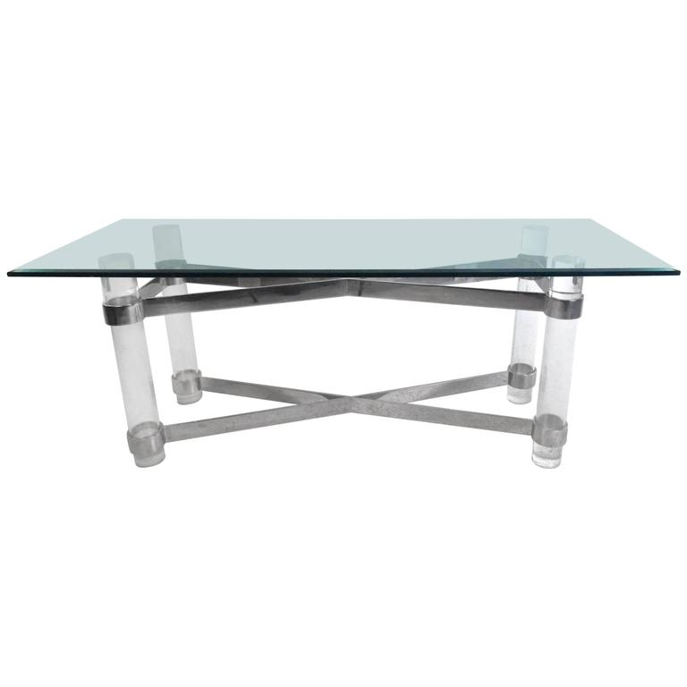 Mid-Century Karl Springer Style Lucite and Chrome Console Table