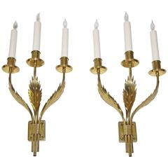 Rare Pair of Large Brass Tommi Parzinger Originals Acanthus Leaf Wall Sconces
