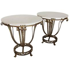 Pair of Parcel-Gilt Iron End Tables, France, circa 1940s
