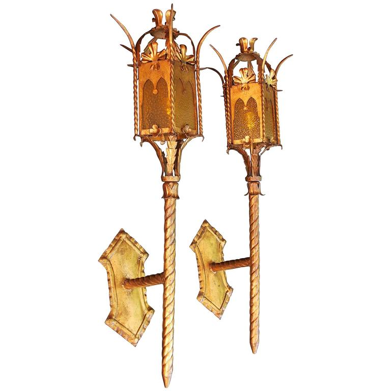 Large Iron Wall Sconces : Large of Pair of Handmade Wrought Iron 1950 Torchiere Sconces For Sale at 1stdibs