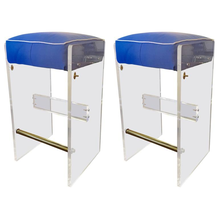 Pair Of Lucite Bar Stools In The Style Of Charles Hollis