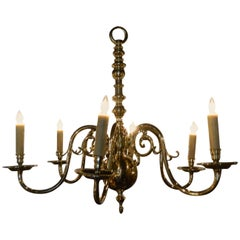 Dutch Style Polished Brass Six-Light Chandelier, 19th Century