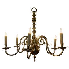 Dutch Style Polished Brass Six-Light Chandelier, 19th Century
