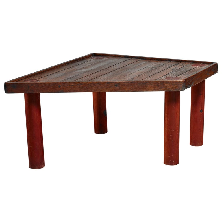 Studio Crafted Slat Top Coffee Table, USA For Sale