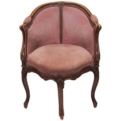 Antique French Carved Walnut Desk Chair, circa 1890