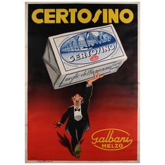 Italian Art Deco Period Poster for Certosino Cheese by Giovanni Manca, c. 1931
