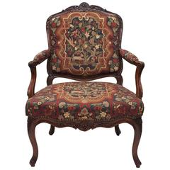Antique French 19th Century Louis XV Walnut Tapestry Armchair, circa 1860-1870