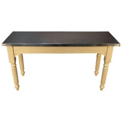 English Stainless Steel Top Table