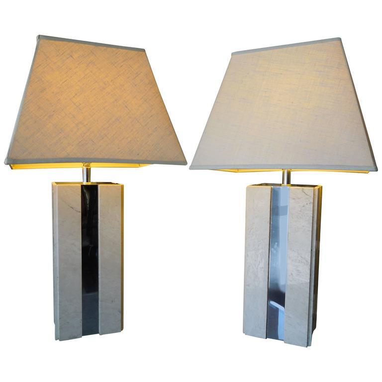 Pair of 1970s Modern Travertine and Chrome Skyscraper Lamps
