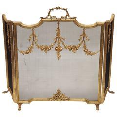 Antique French 19th Century Louis XVI Ormolu Fire Screen, circa 1830-1850