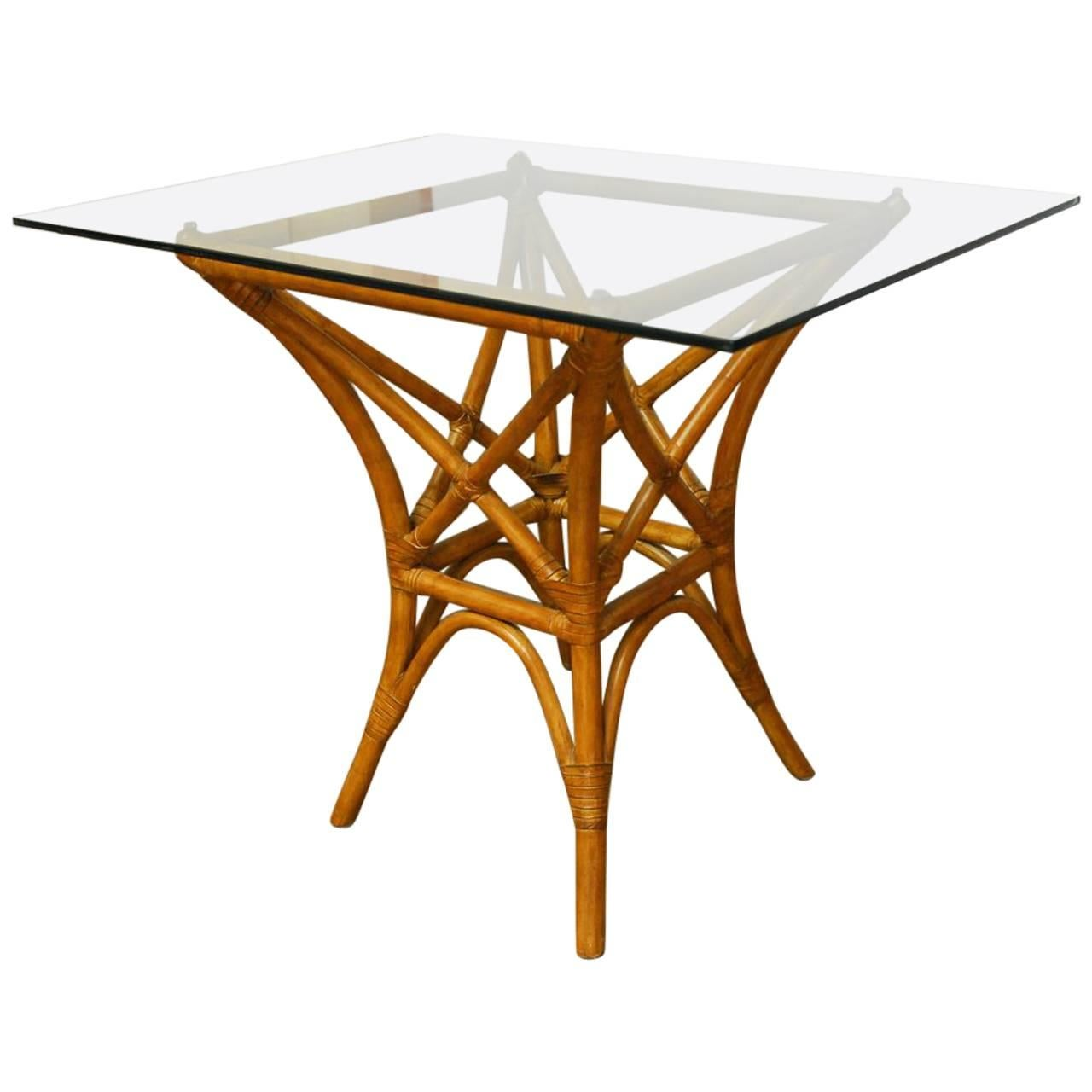 McGuire Style Bamboo Rattan Dining Table