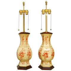 Pair of Marbro Ceramic Urn Lamps with Crackle Glaze