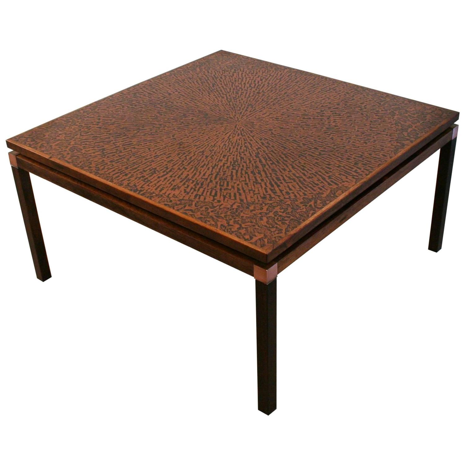 Vintage Danish Copper And Rosewood Coffee Table At 1stdibs