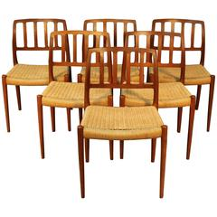 Set of Six Niels Otto Møller for J. L. Møller Dining Chairs