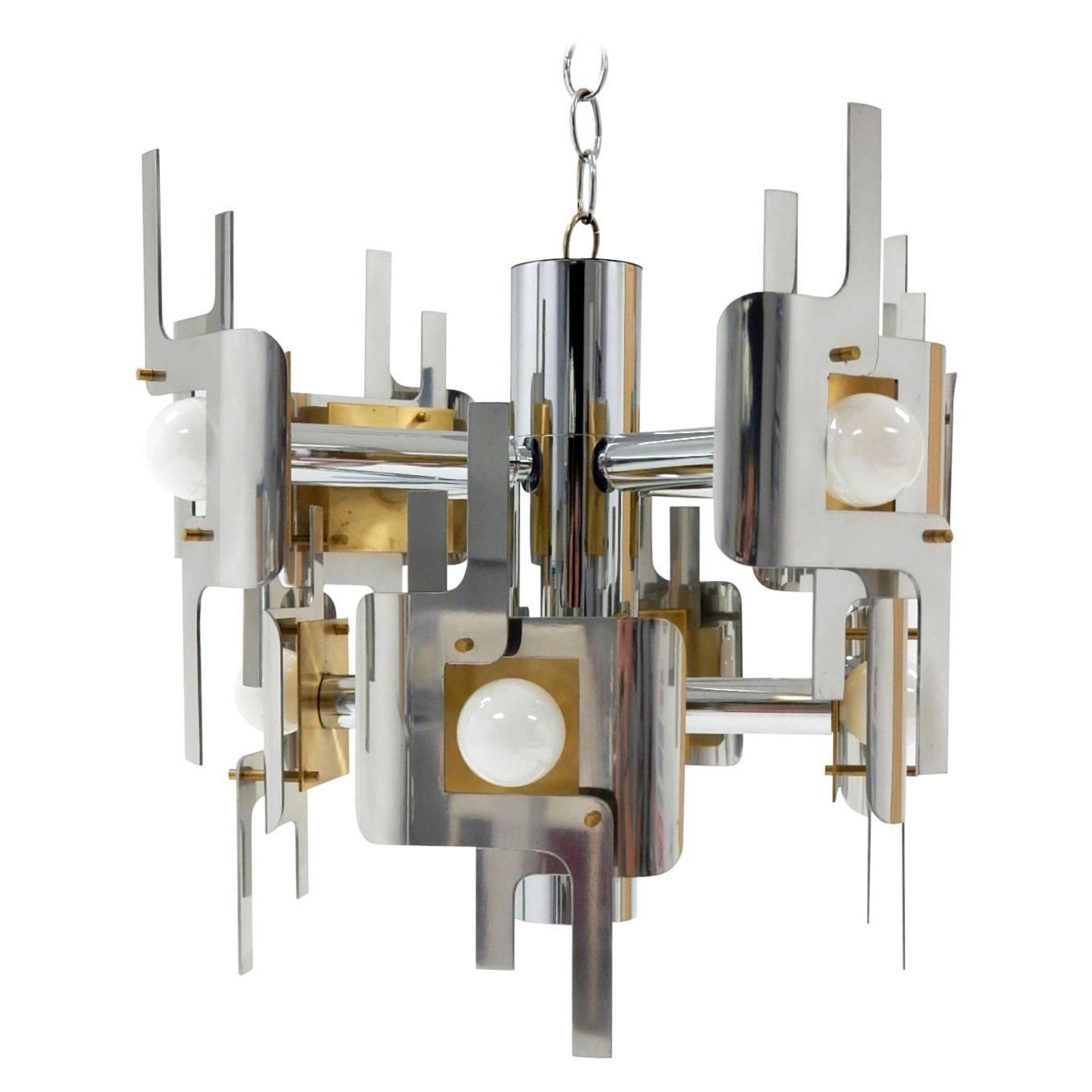 1970s Gaetano Sciolari Sculptura Chrome and Brass Chandelier Lamp